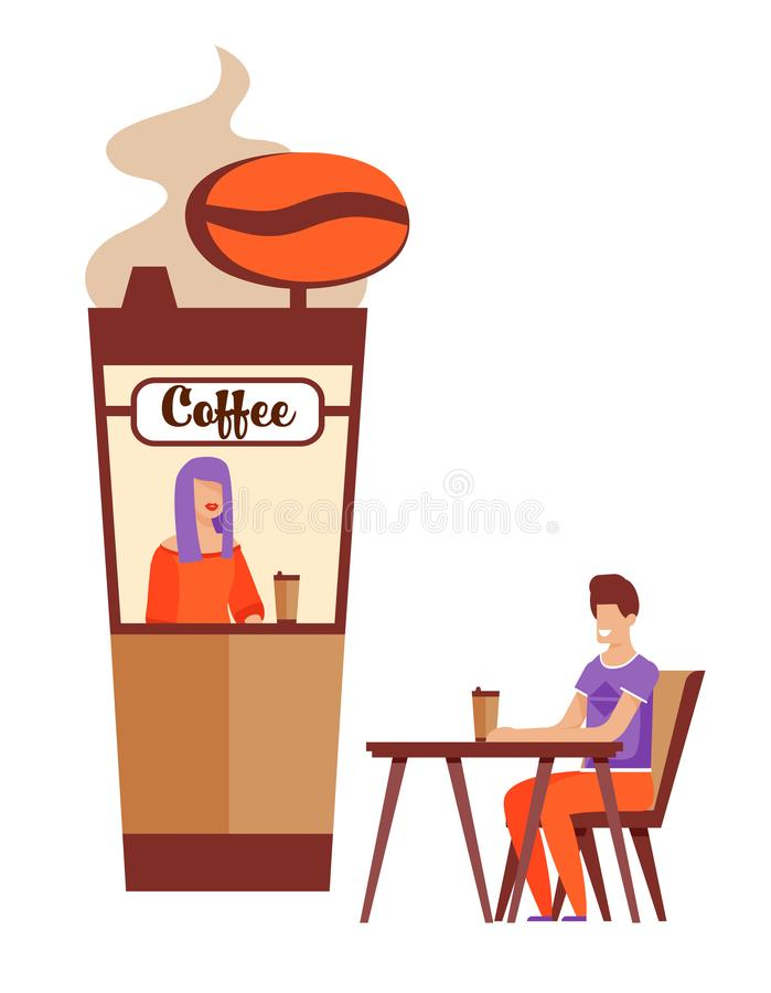 Happy Man Waiting for Fist Date near Coffee Kiosk. Happy Cartoon Man Character with Takeaway Hot Drink Waiting for Fist Date near Coffee Kiosk with Smiling stock illustration