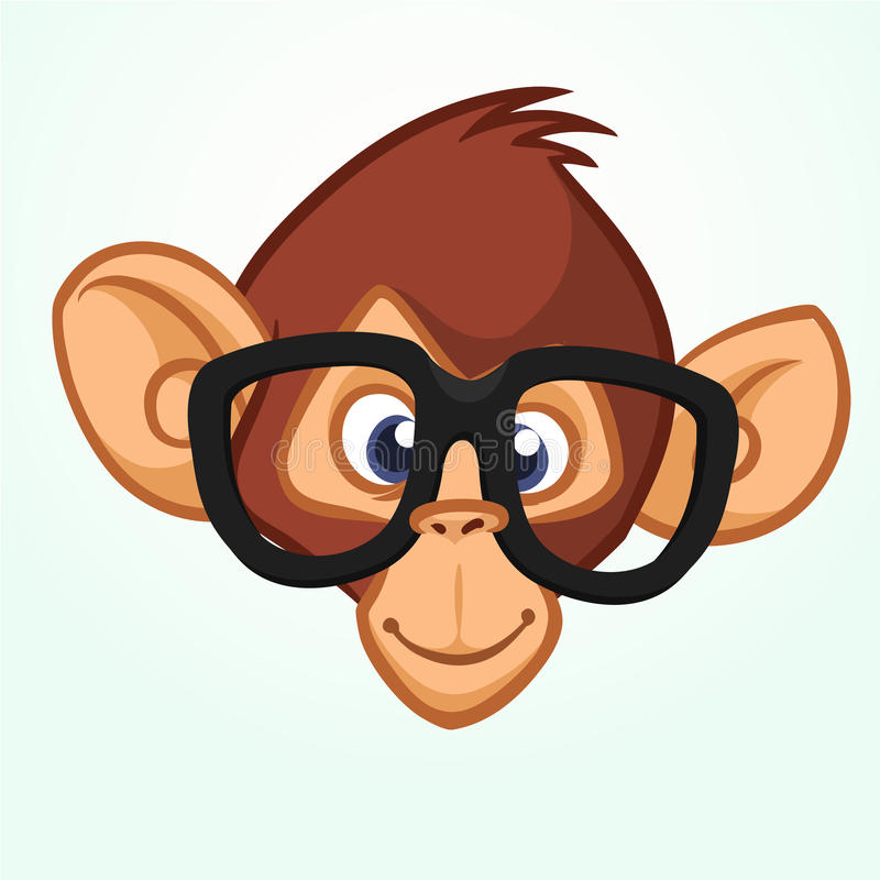 Download happy cartoon monkey head wearing glasses vector icon of chimpanzee stock vector illustration