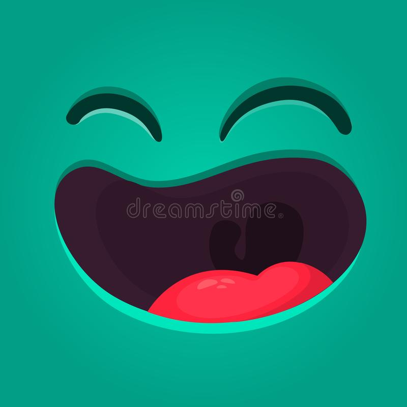 Happy cartoon monster face with no teeth. Vector Halloween laughing monster with big mouth.  stock illustration