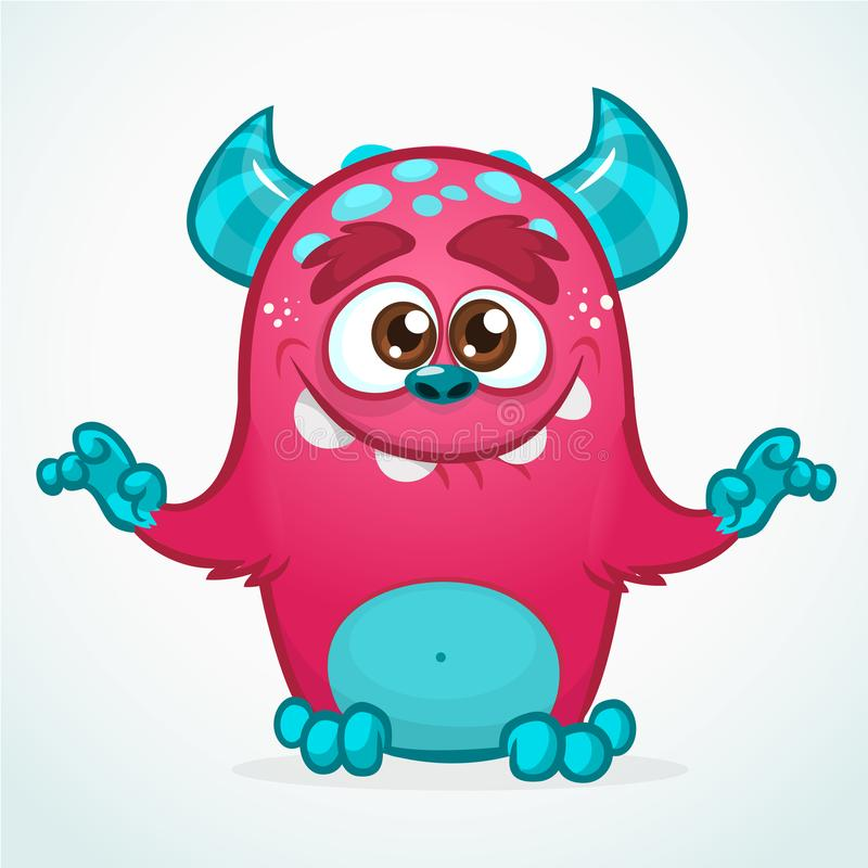 Happy cartoon monster. Halloween pink furry monster. Big collection of cute monsters. Halloween character. Vector illustrations. Good for book illustration vector illustration