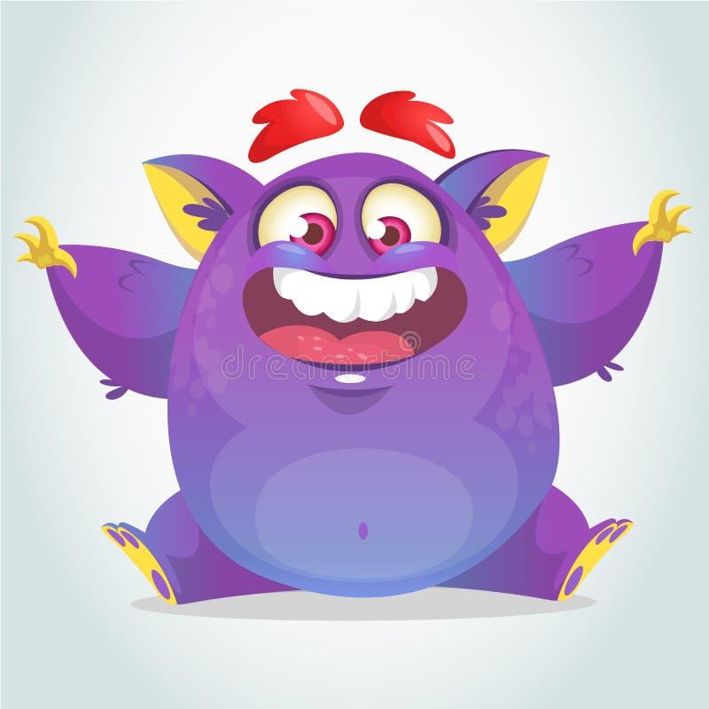 Happy cartoon monster. Halloween vector fat purple monster sitting. vector illustration
