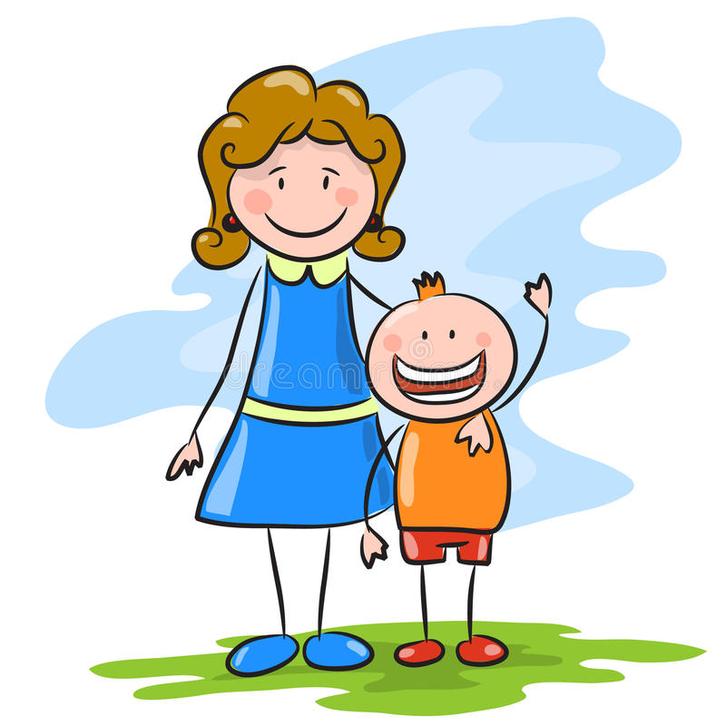 Happy Cartoon Mother And Son Stock Vector Illustration