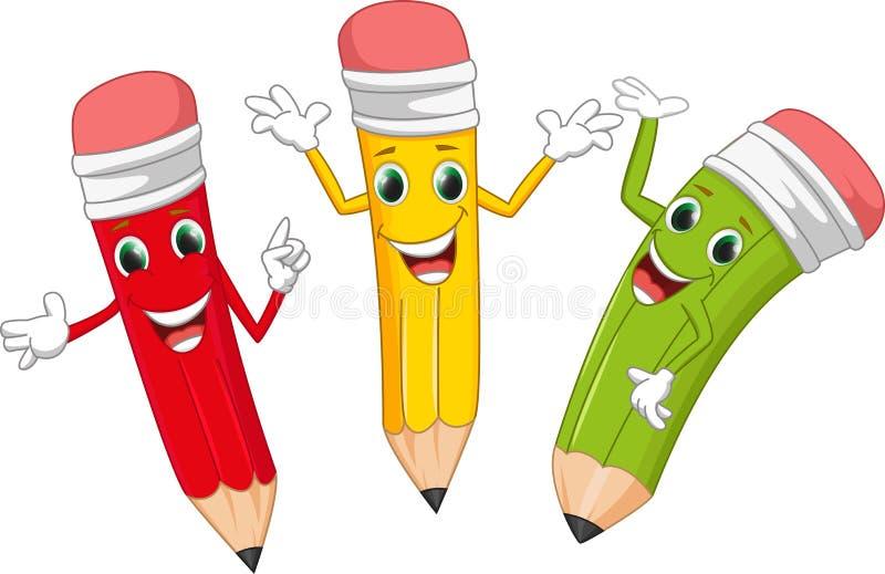 Happy cartoon pencil stock image