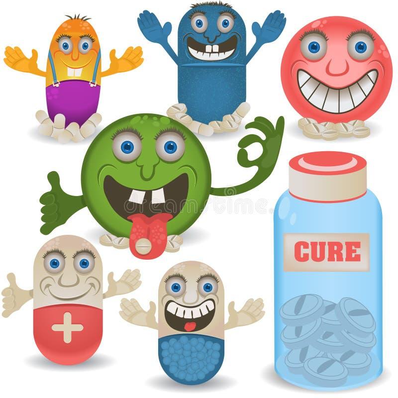 Happy cartoon pills vector illustration
