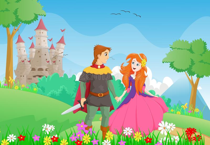 Happy cartoon prince and princess with a castle background. Vector illustration of happy cartoon prince and princess with a castle background stock illustration