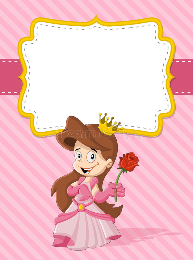 Happy cartoon princess. Card with a happy cartoon princess royalty free illustration