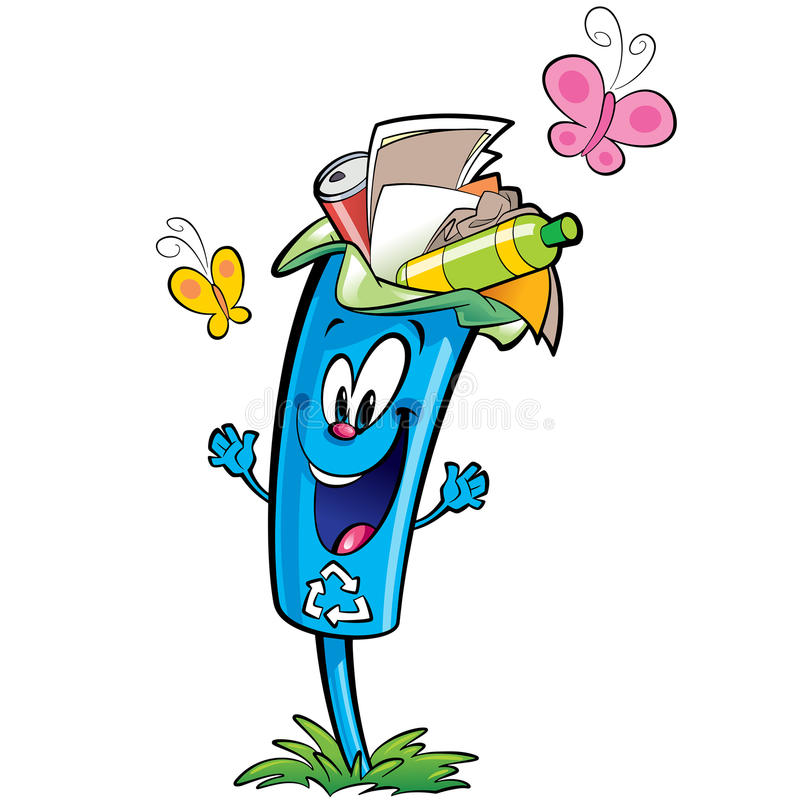 Happy cartoon recycle trash bin character recycling paper plastic glass stock illustration