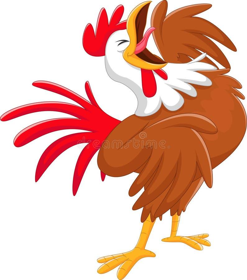 Happy Cartoon Rooster Crowing Stock Vector - Illustration ...