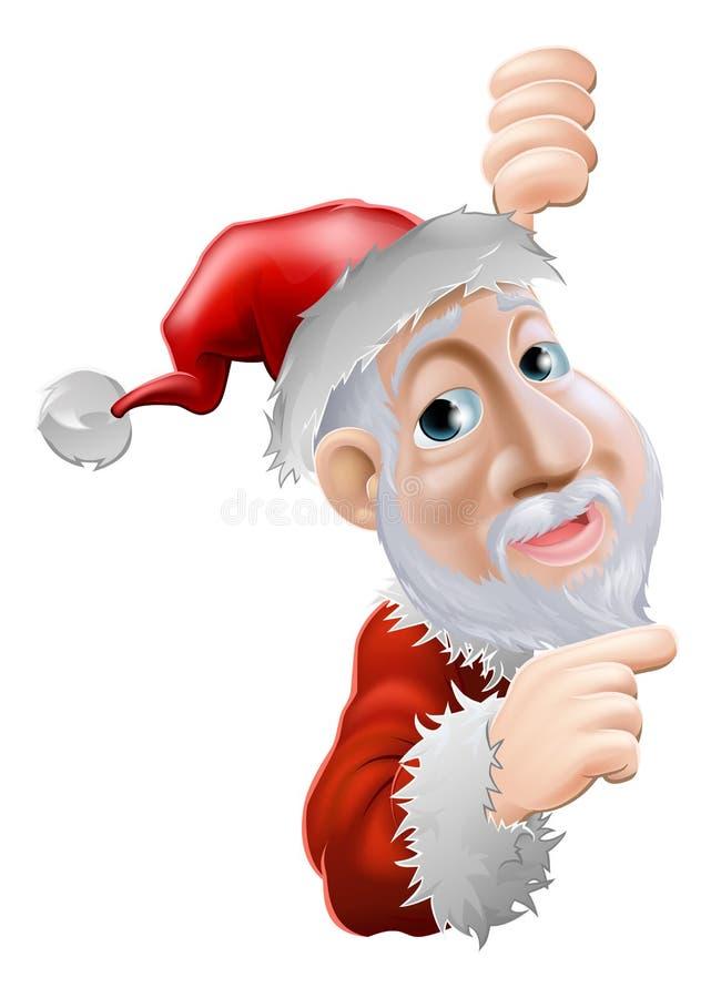 Happy cartoon Santa pointing to side