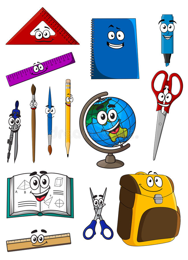 Happy cartoon school supplies characters stock illustration