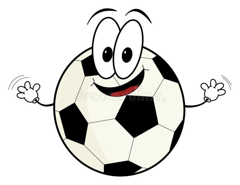Happy cartoon soccer ball character stock illustration