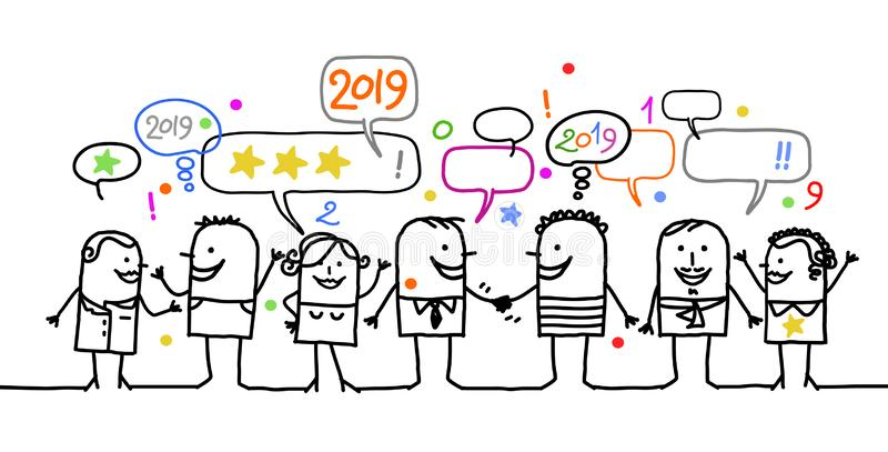 Happy Cartoon Social People and New Year 2019 royalty free illustration