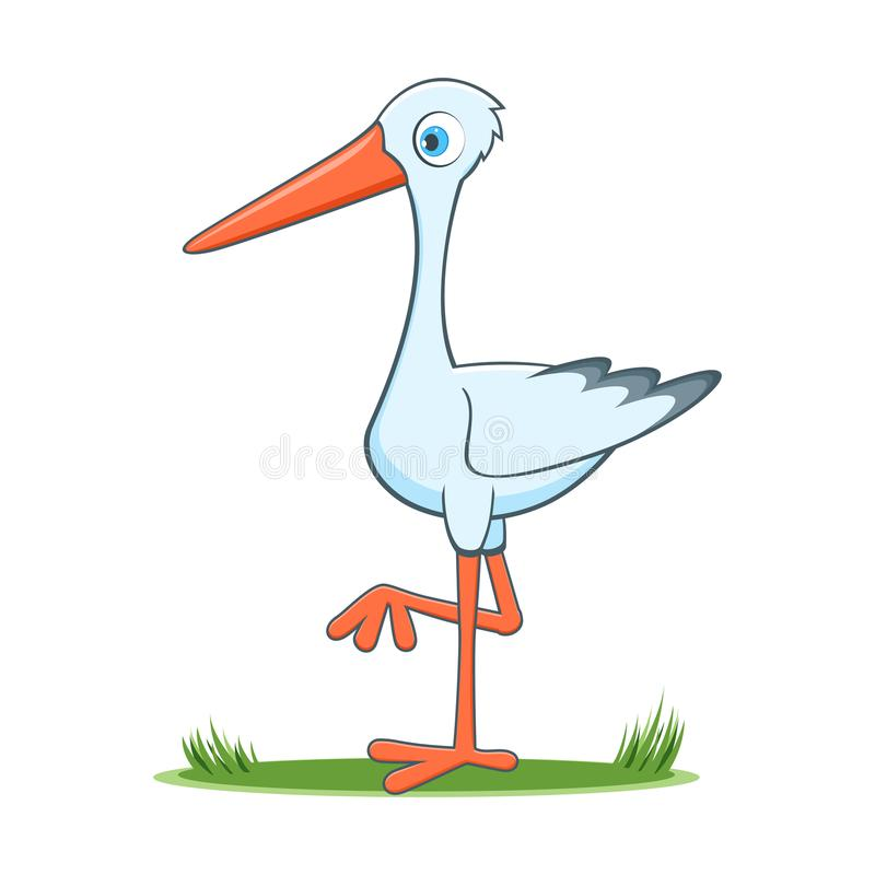 Happy cartoon stork royalty free illustration
