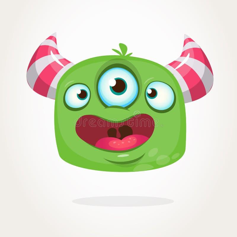 Happy cartoon three eyed alien character icon. Halloween vector illustration. Clipart. Happy cartoon three eyed alien character icon. Halloween vector vector illustration