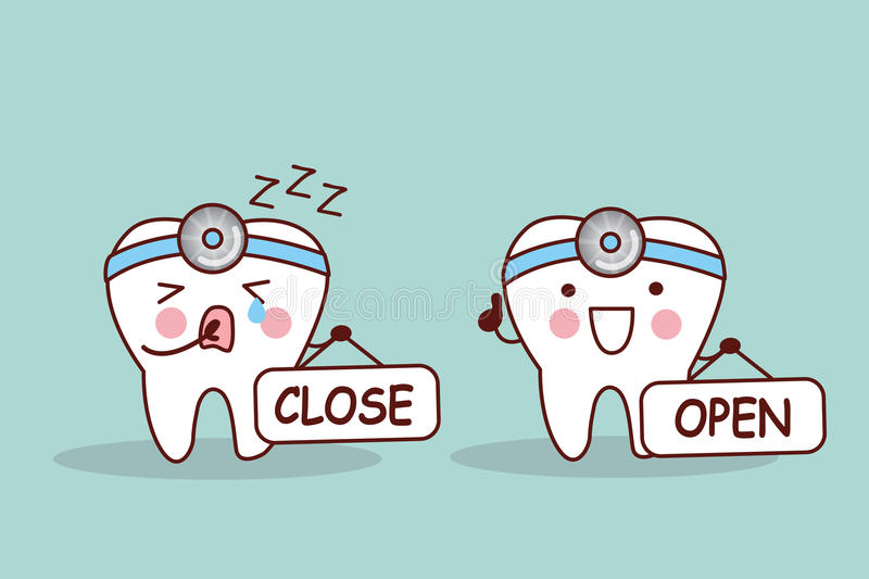 Happy cartoon tooth and dentist royalty free illustration