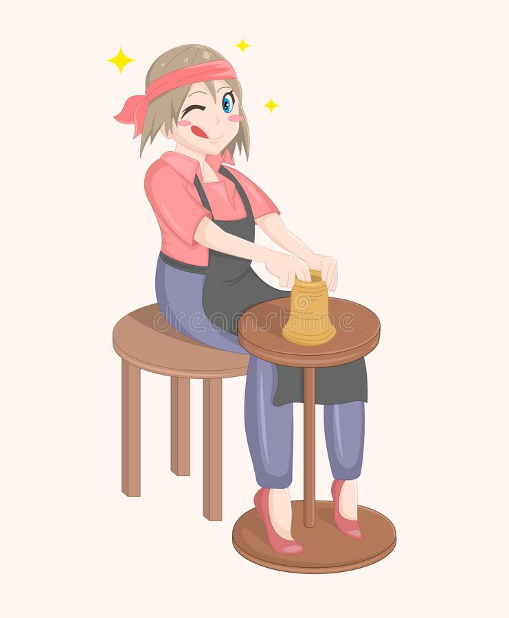 Happy cartoon vector isolated potter girl. Cute woman sitting and modeling a jug out of clay. The girl ceramist. Hobby concept royalty free illustration