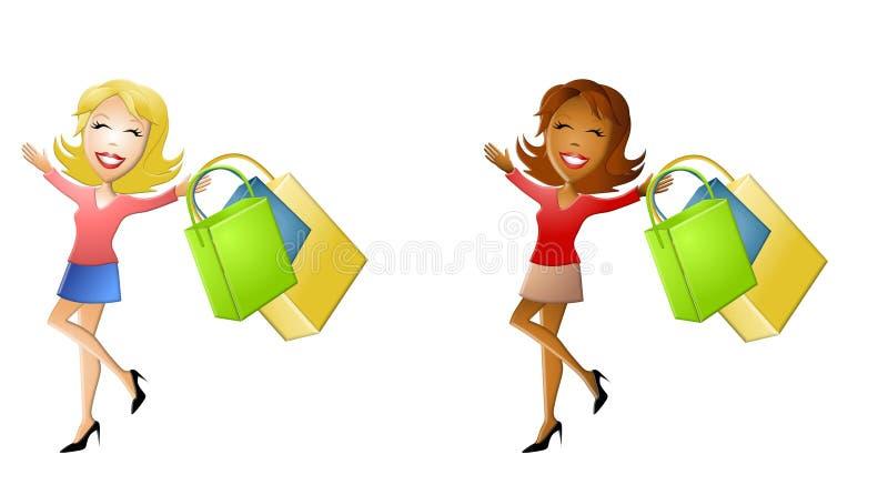 Happy Cartoon Women Shopping stock illustration
