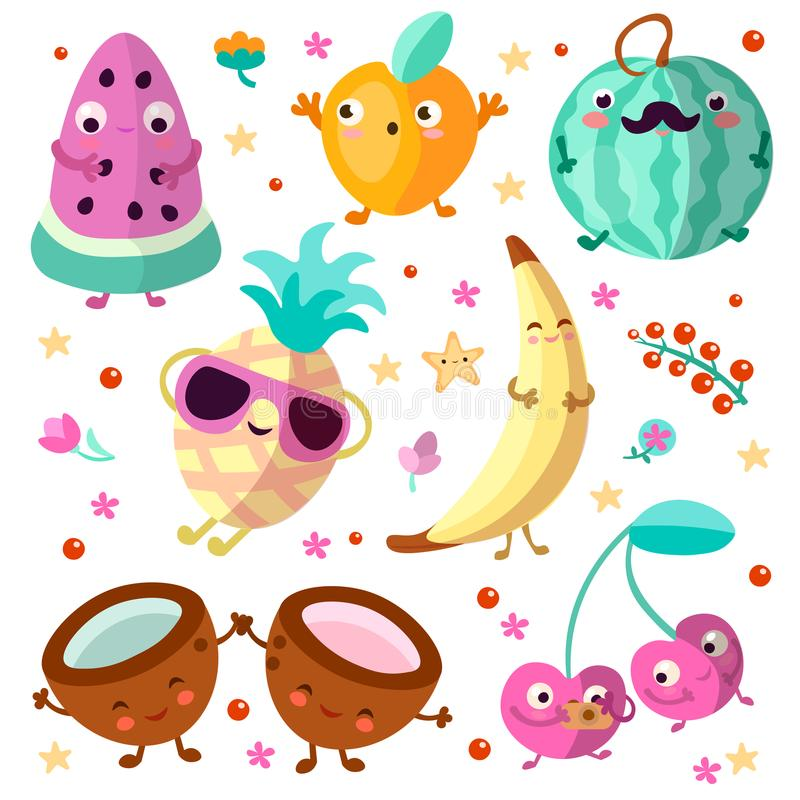 Happy cartooning fruits vector illustration. Set of tropical childish fruit, relaxing and happy, isolated on white. Background. Tropical fruits collection with royalty free illustration