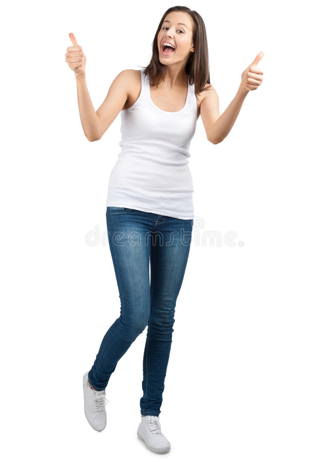 Happy Casual Girl Showing Thumbs Up Stock Photography