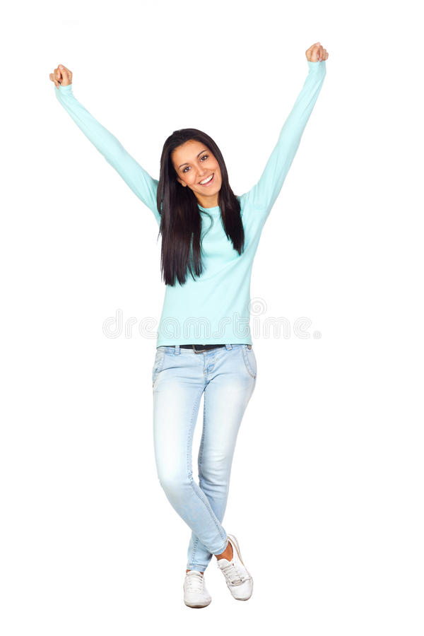Happy Casual Girl With Victory Expression Stock Photo
