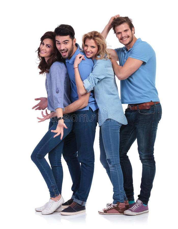 Happy casual group of young people having fun stock photos