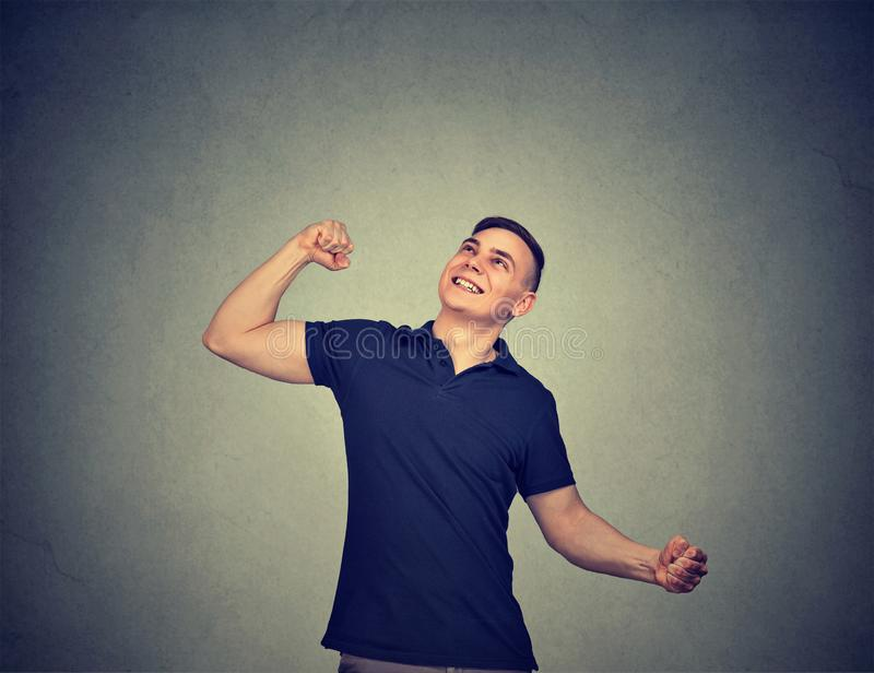 Happy casual man celebrating success royalty free stock image