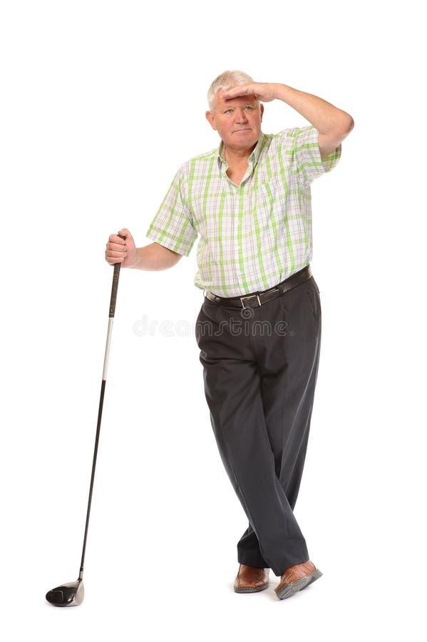 Happy Casual Mature Golfer Swinging A Club Stock Photo -6413