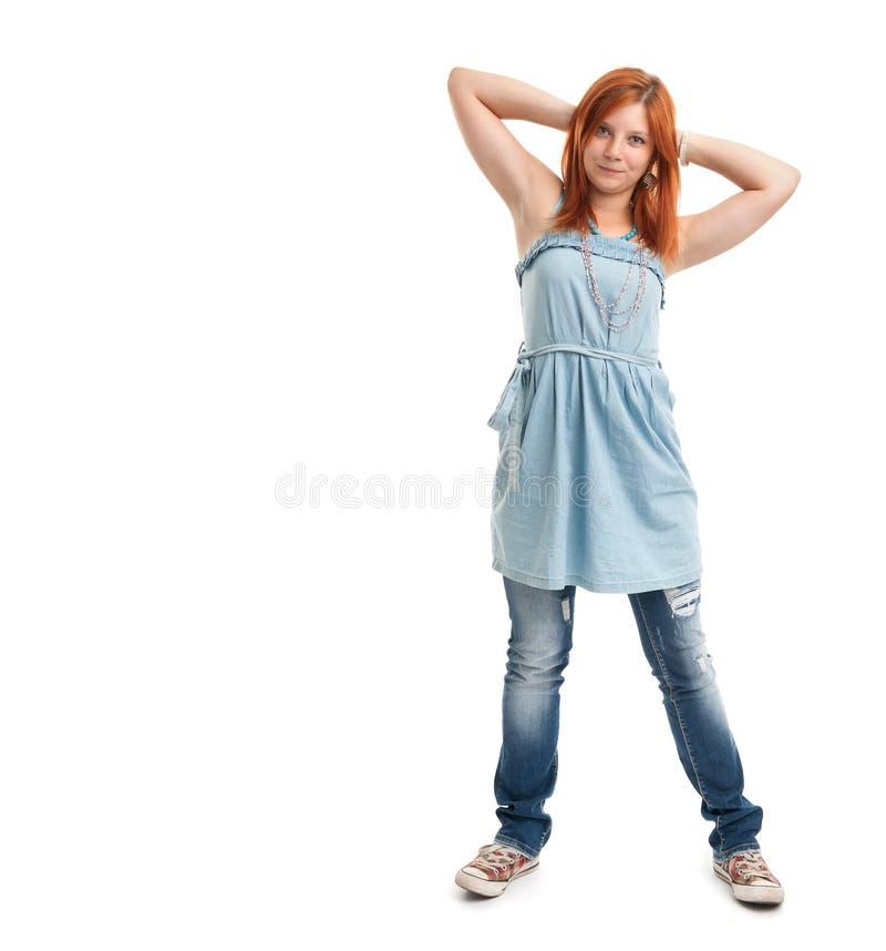Happy casual redhead girl stock image