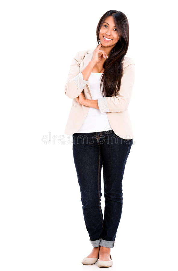 Download Happy casual woman stock image. Image of standing, happy - 33213633