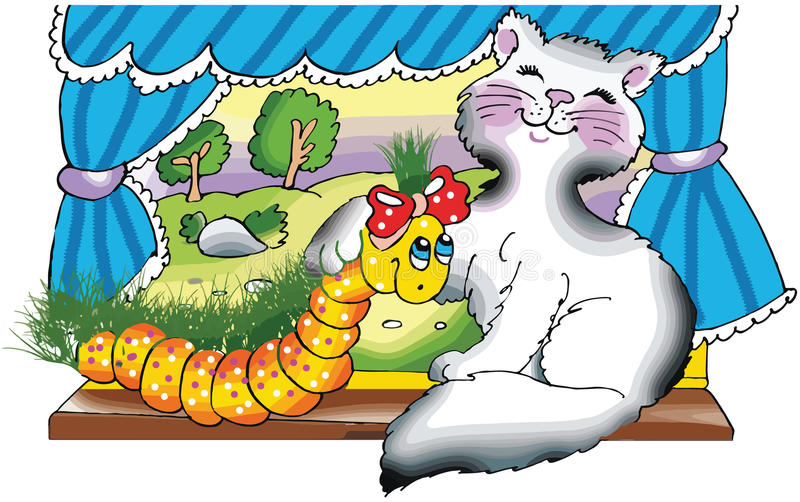 Download Happy Cat And Caterpillar By The Window Stock Vector - Image: 30256669