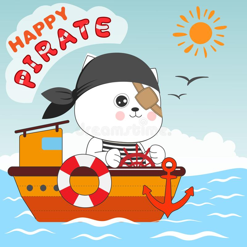 Happy cat pirate sailing in their ship. royalty free stock image