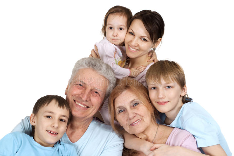 Happy Caucasian family of six stock images