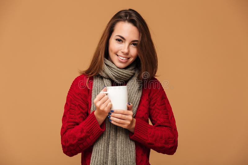 Happy caucasian lady dressed in sweater drinking hot tea. royalty free stock photos