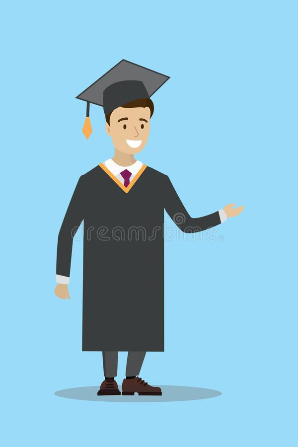Happy caucasian male graduate in cloak and graduation cap. Joyful graduate celebrating graduation. Concept of education. Cartoon Vector illustration stock illustration