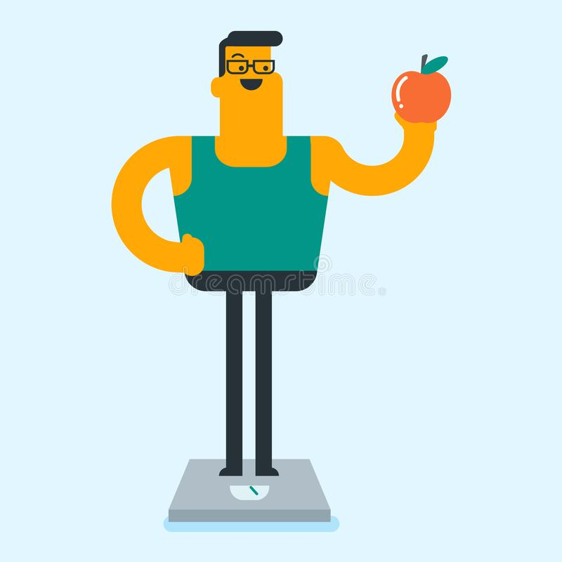 Happy caucasian white man on a healthy diet. Happy caucasian white man holding an apple in hand and weighing after a diet. Man satisfied with the result of diet stock illustration