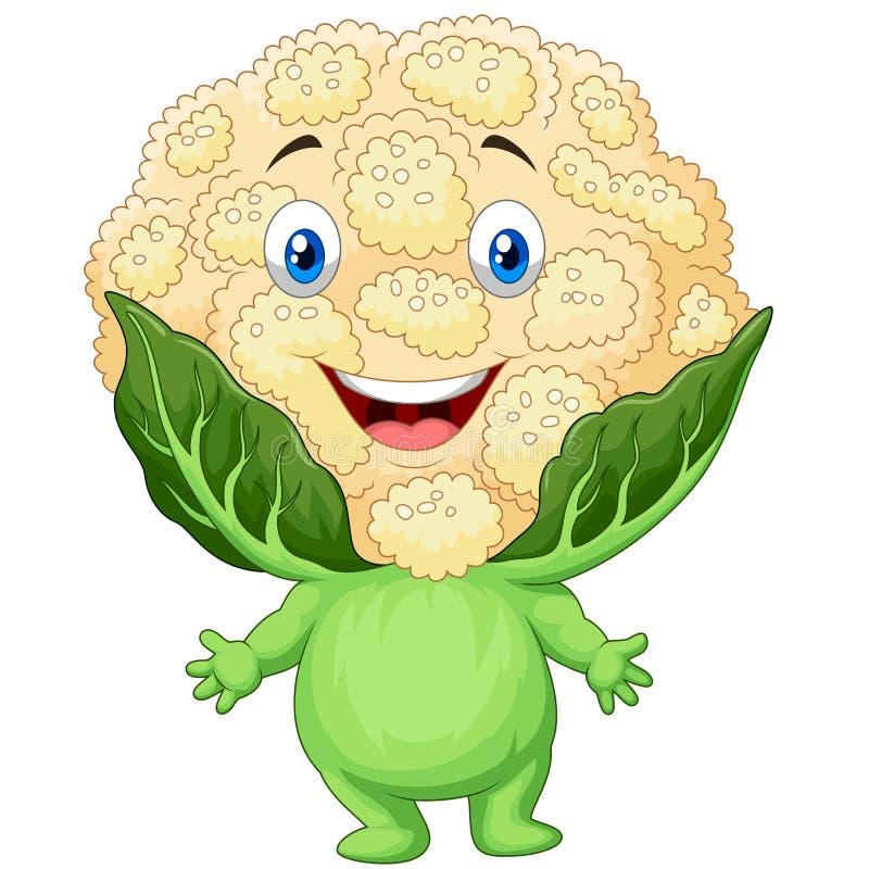 Happy cauliflower cartoon. Illustration of Happy cauliflower cartoon royalty free illustration