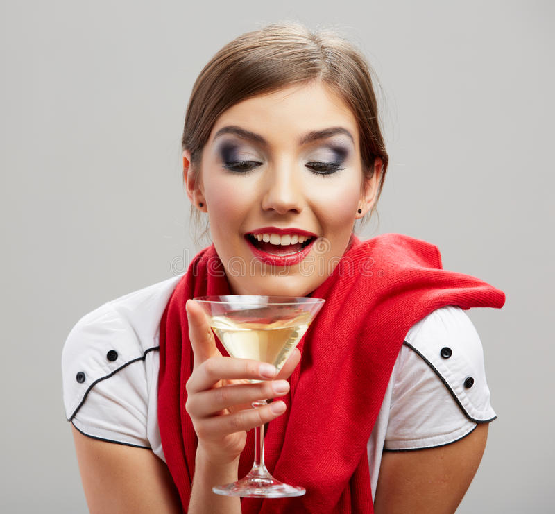 Happy celebrate woman portrait royalty free stock image