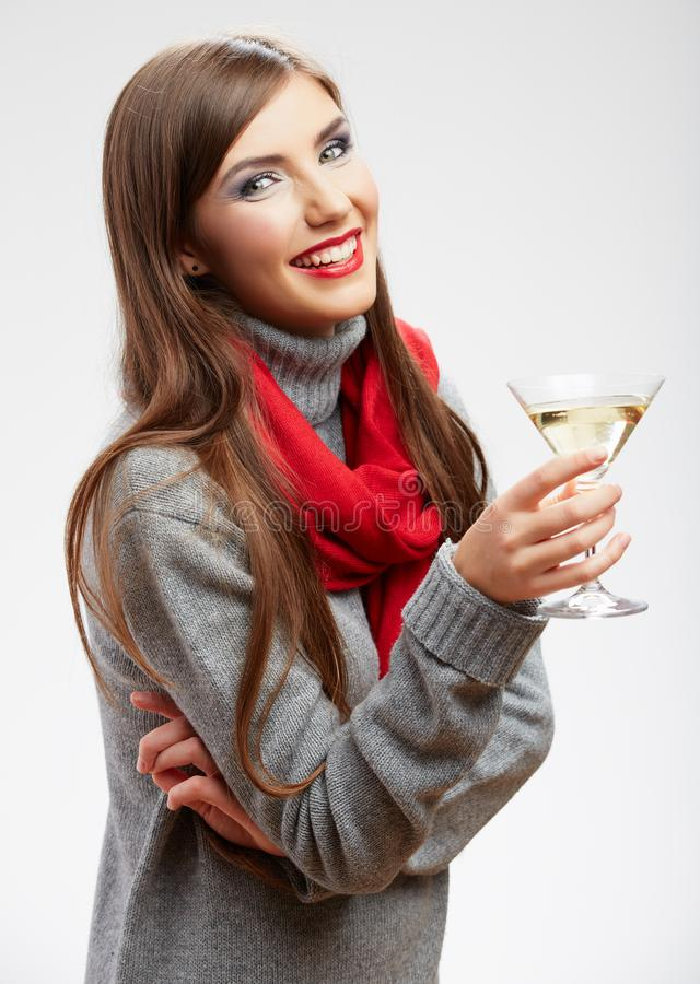 Happy celebrate woman portrait isolated on white. Background. Wine drin girl with red lips royalty free stock photography