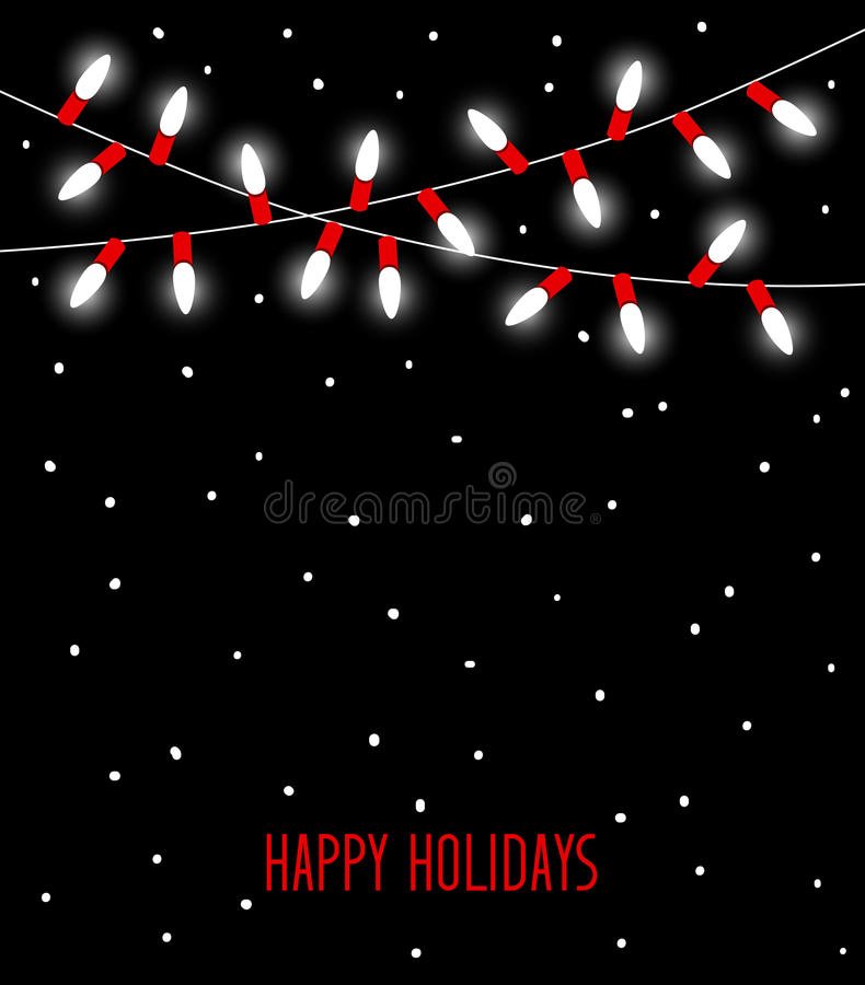 Happy Celebration Christmas New Years Birthdays and other events led lights bulbs lamps in white and red colors. Hanging garland on black background royalty free illustration