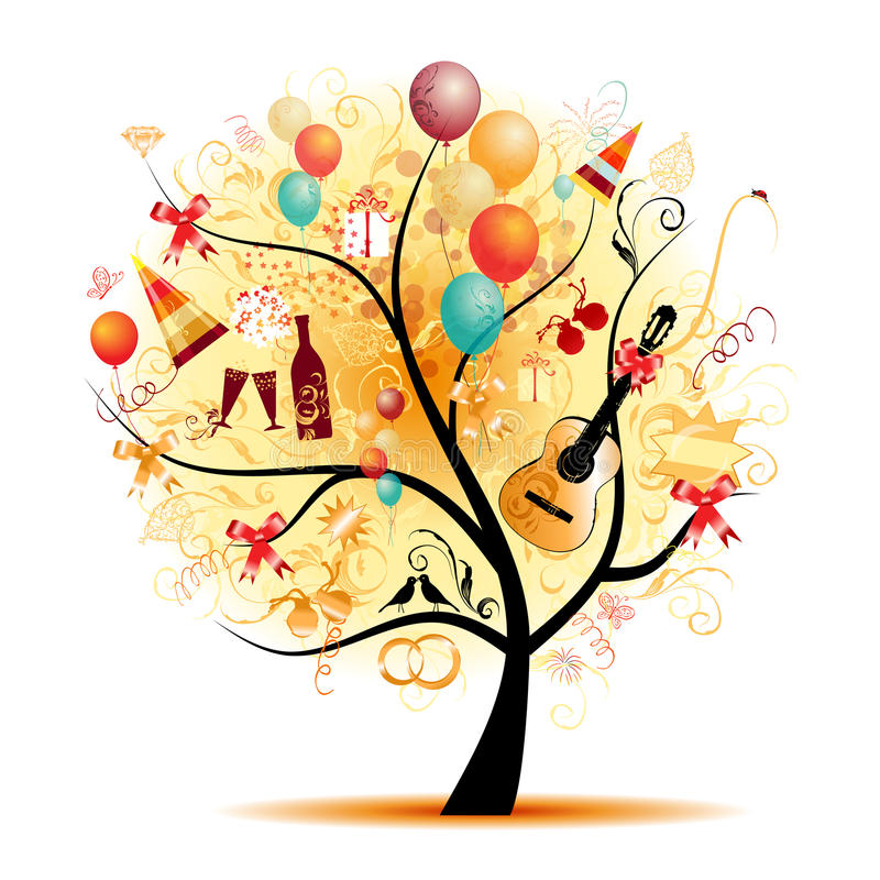 Download Happy Celebration, Funny Tree With Holiday Symbols Royalty Free Stock Photos - Image: 15953368