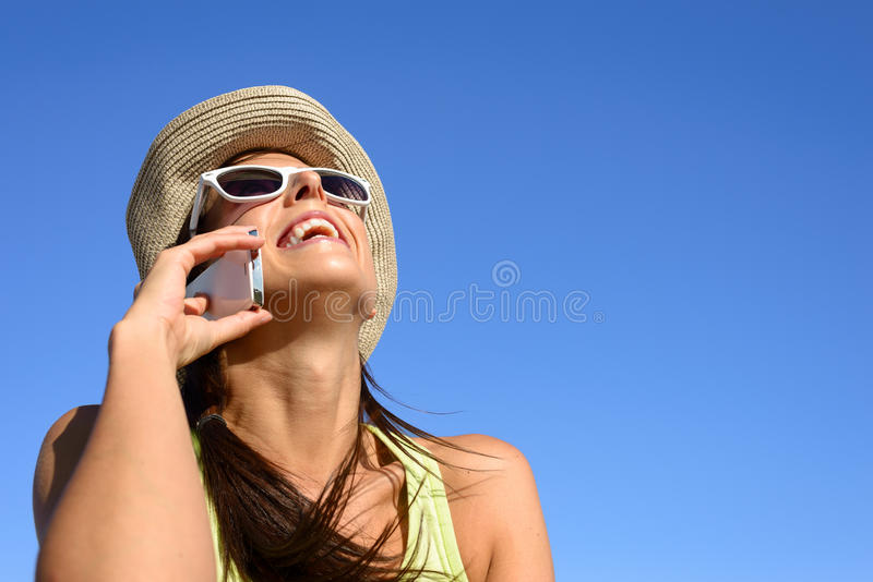 Happy cell phone call woman stock photos