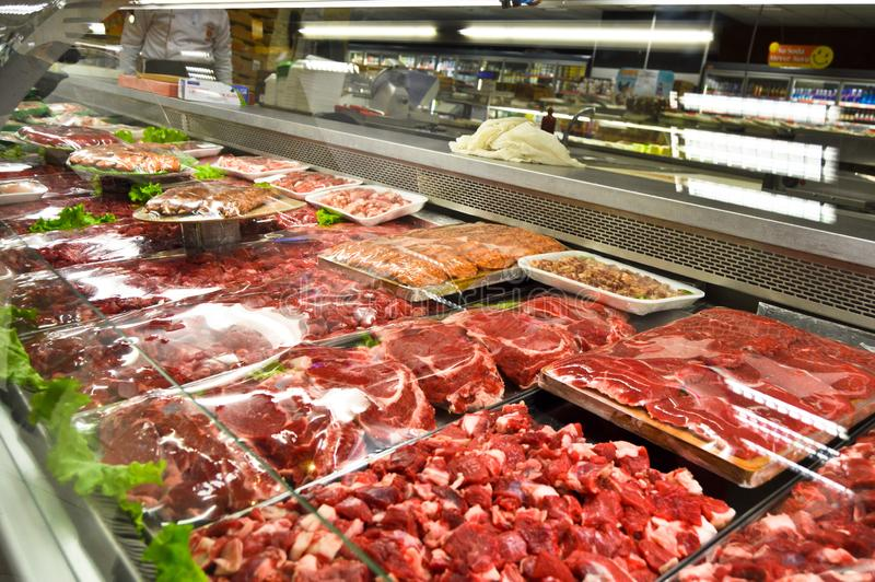 Happy Center super markets chain Istanbul Maltepe. Istanbul Maltepe Happy Center super markets chain, the butcher section stock image
