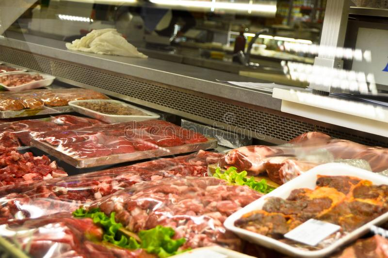 Happy Center super markets chain Istanbul Maltepe. Istanbul Maltepe Happy Center super markets chain, the butcher section royalty free stock photo
