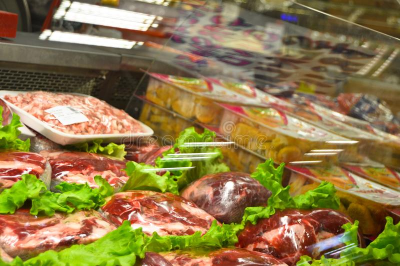 Happy Center super markets chain Istanbul Maltepe. Istanbul Maltepe Happy Center super markets chain, the butcher section stock images