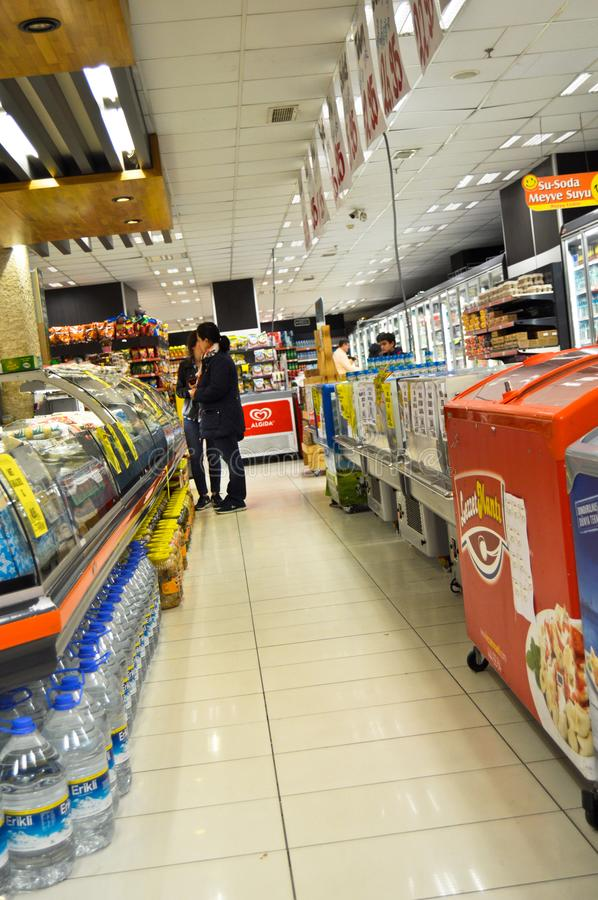 Happy Center super markets chain Istanbul Maltepe. Istanbul Maltepe Happy Center super markets chain, people shopping stock photo