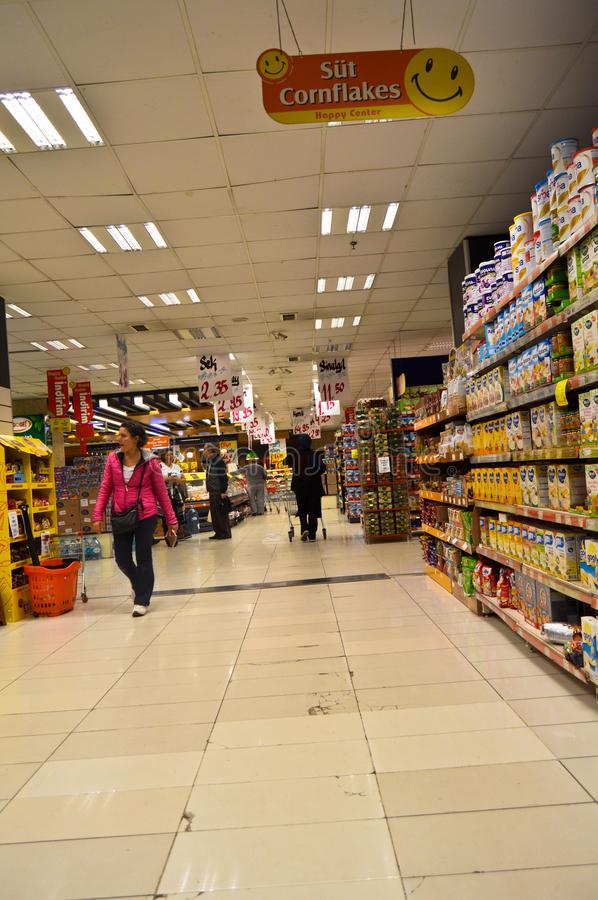 Happy Center super markets chain Istanbul Maltepe. Istanbul Maltepe Happy Center super markets chain, people shopping stock photos