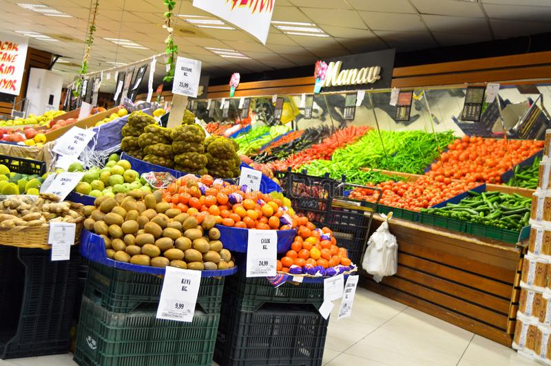 Happy Center super markets chain Istanbul Maltepe. Istanbul Maltepe Happy Center super markets chain, people shopping, vegetable and fruit section stock image
