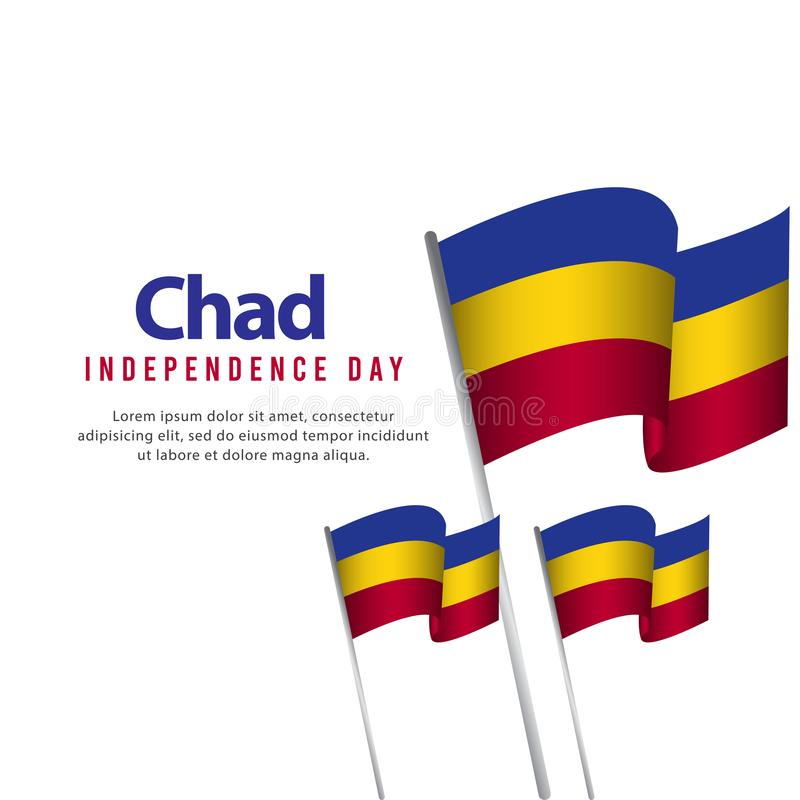 Happy Chad Independence Day Celebration Poster Vector Template Design Illustration. Background, holiday, country, freedom, national, flag, international stock illustration