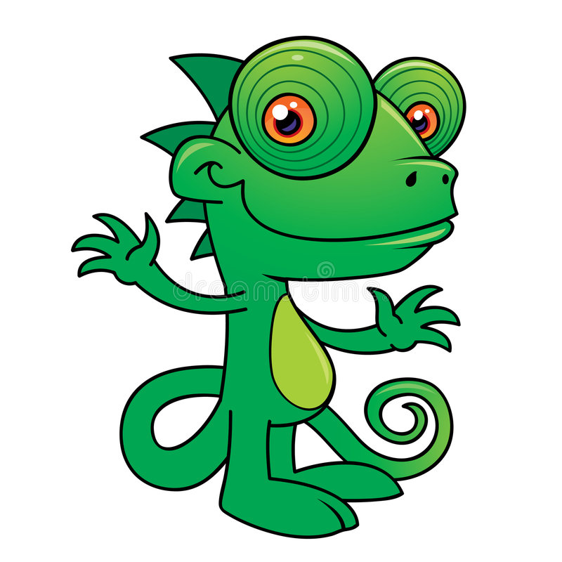 Happy Chameleon Character. Vector illustration of a Happy little chameleon drawn in a humorous cartoon style vector illustration