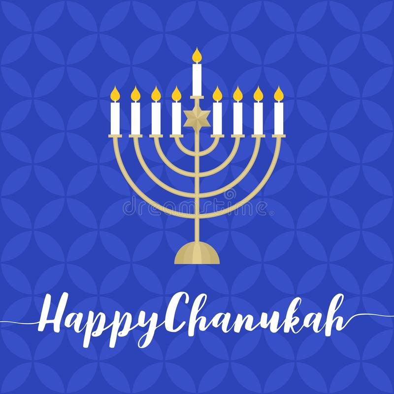 Happy Chanukah calligraphic with menorah royalty free illustration